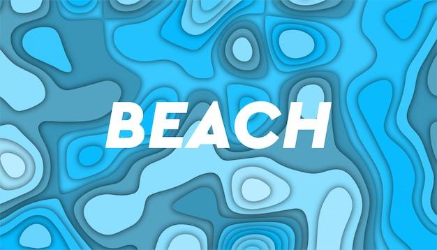 Sfondo astratto onda spiaggia con forme di taglio carta,