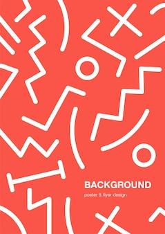 Sfondo astratto poster alla moda con motivi geometrici, forme. sfondo rosso in stile memphis con posto per il testo.