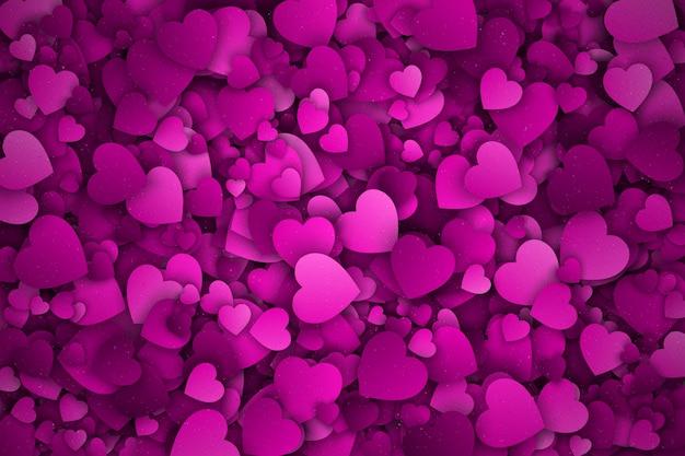 Sfondo astratto rosa cuori 3d