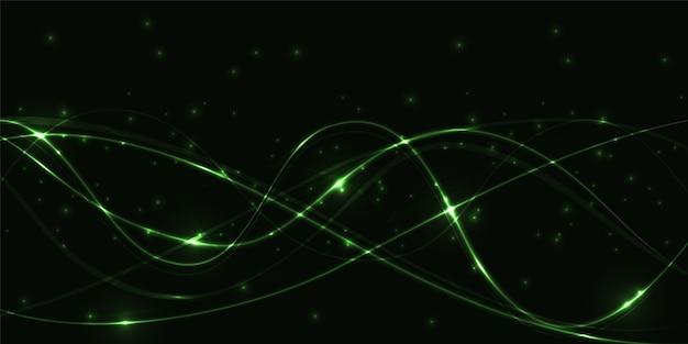 Sfondo astratto scuro con linee luminose traslucide verdi e luci.