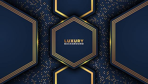 Sfondo astratto scuro con strati di sovrapposizione. concetto di design di lusso. decorazione di elementi puntini dorati luccica. concetto di design di lusso.