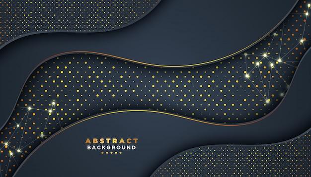 Sfondo astratto scuro con strati di sovrapposizione. decorazione di elementi puntini dorati luccica.