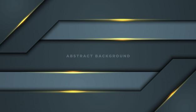 Sfondo astratto scuro con strati di sovrapposizione neri. texture con decorazione elemento effetto dorato.