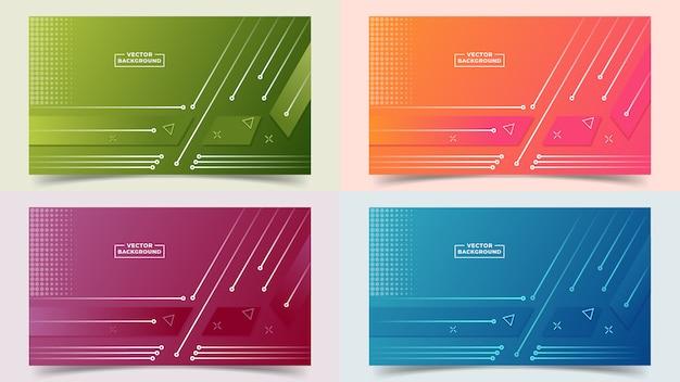 Sfondo astratto sfumato imposta colori e linee in una bella combinazione