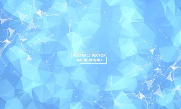 Sfondo astratto spazio poligonale blu con punti e linee di collegamento.