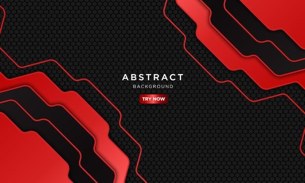 Sfondo astratto sport rosso e nero con forma sovrapposta.