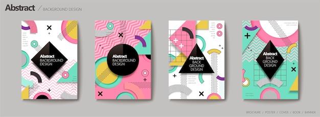 Sfondo astratto, stile geometrico di memphis in tono colorato