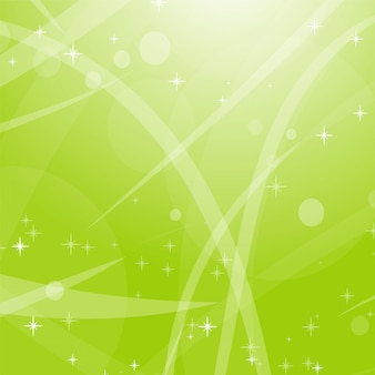 Sfondo astratto verde chiaro con stelle, cerchi e strisce.