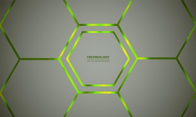 Sfondo astratto verde chiaro esagonale. griglia a nido d'ape leggera. il verde brillante lampeggia sotto l'esagono nella tecnologia leggera, moderna, futuristica.