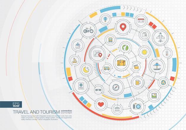 Sfondo astratto viaggio. sistema di connessione digitale con cerchi integrati, icone a colori. interfaccia grafica radiale. concetto futuro. illustrazione infografica