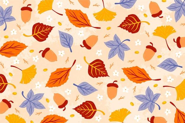 Sfondo autunnale con tema di foglie