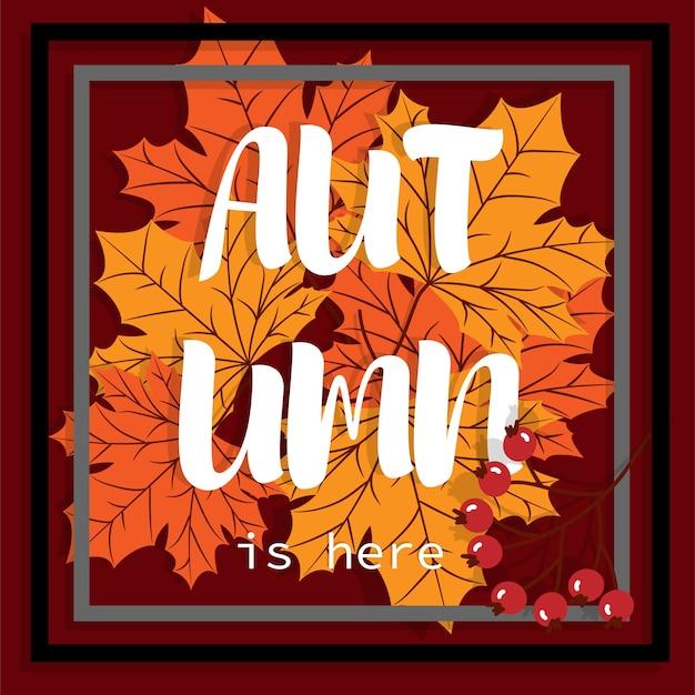 Sfondo autunnale con testo ciao autunno.