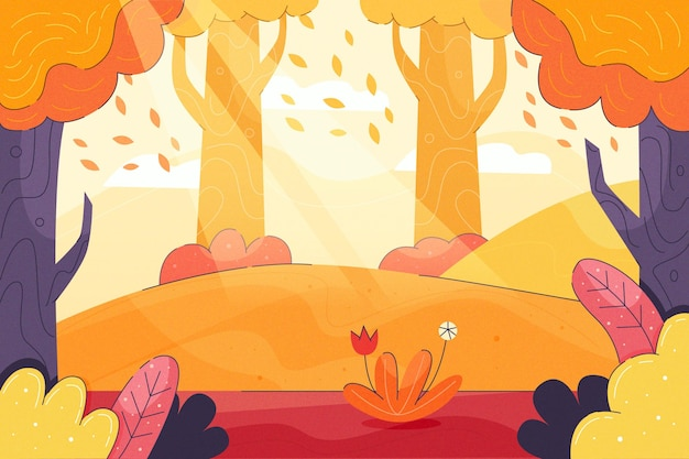 Sfondo autunno colorato con paesaggio
