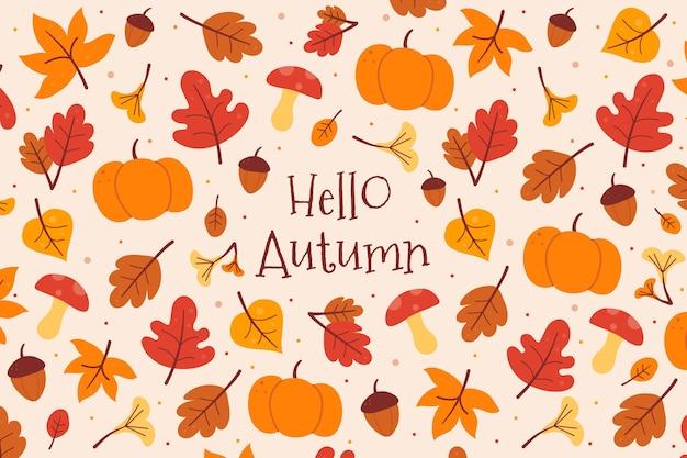 Sfondo autunno con zucca e foglie