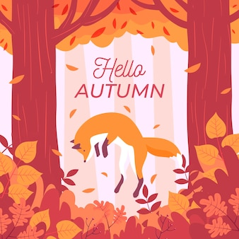 Sfondo autunno design piatto con ciao messaggio d'autunno
