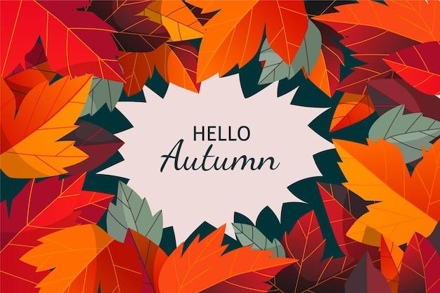 Sfondo autunno disegnato a mano con foglie colorate