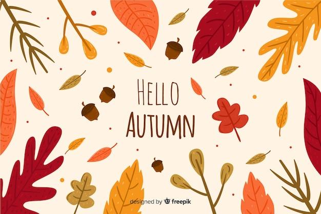 Sfondo autunno disegnato a mano con foglie