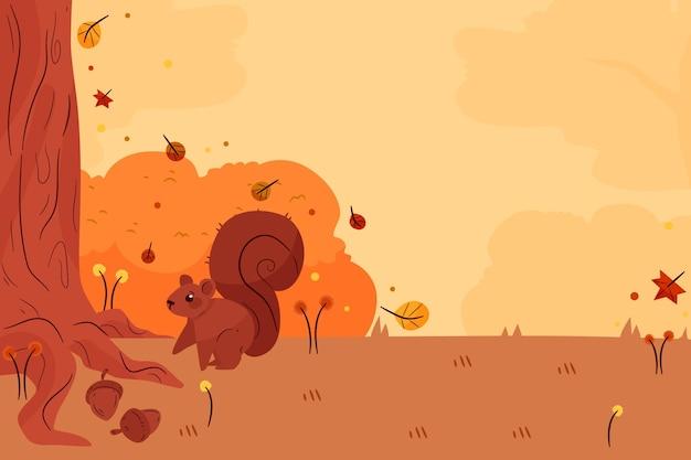 Sfondo autunno piatto con animali della foresta