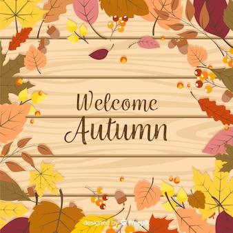Sfondo autunno piatto con foglie