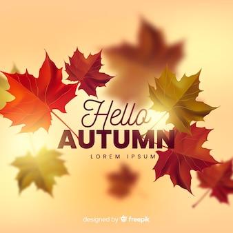 Sfondo autunno realistico con foglie