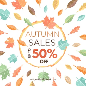Sfondo autunno vendita con foglie
