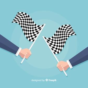 Sfondo bandiera a scacchi con le mani