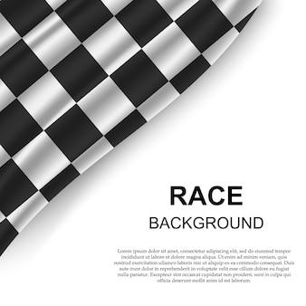 Sfondo bandiera a scacchi con modello di testo
