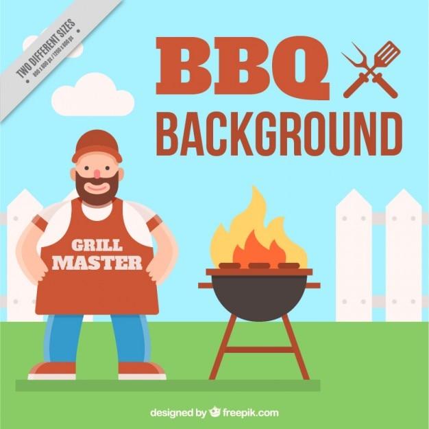 Sfondo barbecue con un maestro griglia