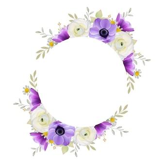 Sfondo bellissimo telaio con fiori floreale ranuncolo e anemone