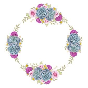 Sfondo bellissimo telaio con rose floreali e succulente