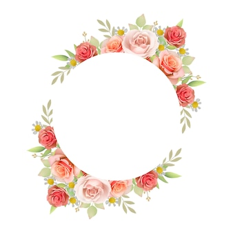 Sfondo bellissimo telaio con rose floreali