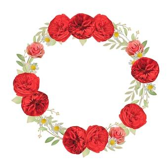 Sfondo bellissimo telaio con rose rosse floreali
