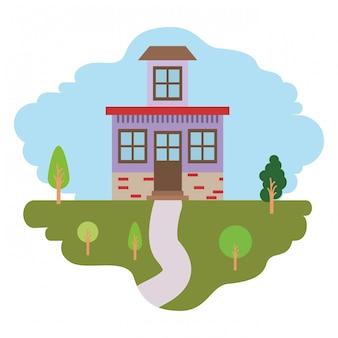 Sfondo bianco con scena colorata di paesaggio naturale e casa con piccolo attico