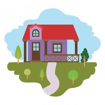 Sfondo bianco con scena colorata di paesaggio naturale e facciata casa con ringhiera e soffitta
