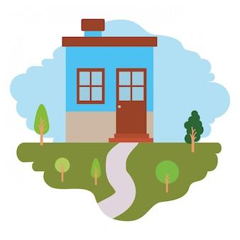 Sfondo bianco con scena colorata di paesaggio naturale e piccola casa con camino