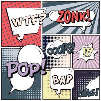 Sfondo bianco di stile comico pop art.