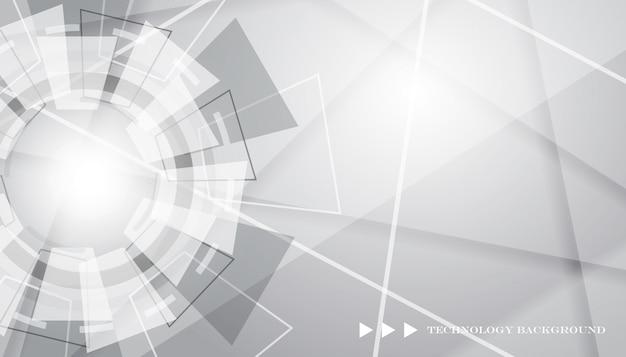 Sfondo bianco e grigio con forma tecnologia degli attrezzi