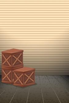 Sfondo bianco scatola di legno