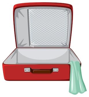 Sfondo bianco valigia rossa