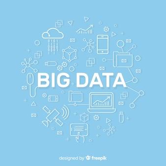 Sfondo big data di stile piatto blu