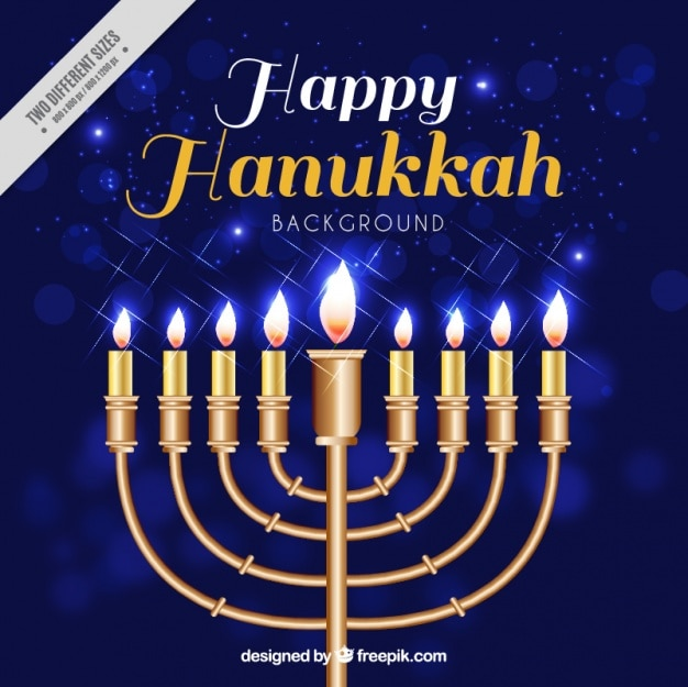 Sfondo blu bokeh con candelabri di hanukkah