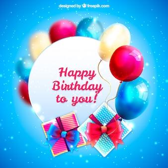 Sfondo blu brillante con palloncini e regali di compleanno