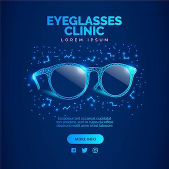 Sfondo blu clinica occhiali. illustrazione vettoriale