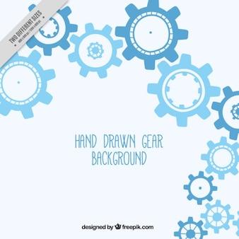 Sfondo blu con ingranaggi disegnati a mano
