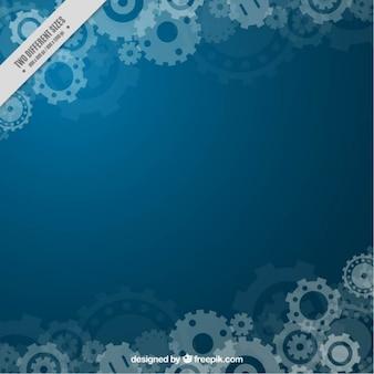Sfondo blu con ingranaggi