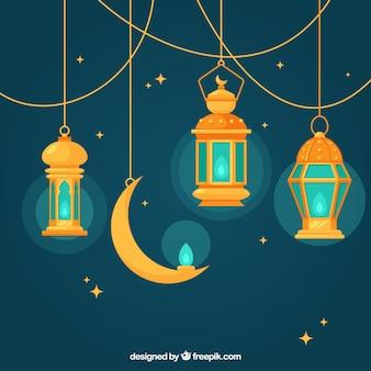 Sfondo blu con lampade piatta e la luna per il ramadan