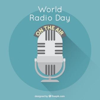 Sfondo blu con microfono per giorno la radio mondo