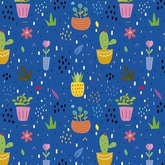 Sfondo blu con molte piante e fiori