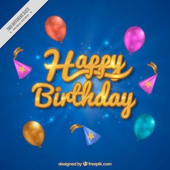 Sfondo blu con palloncini e cappelli di compleanno