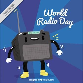 Sfondo blu con radio felice